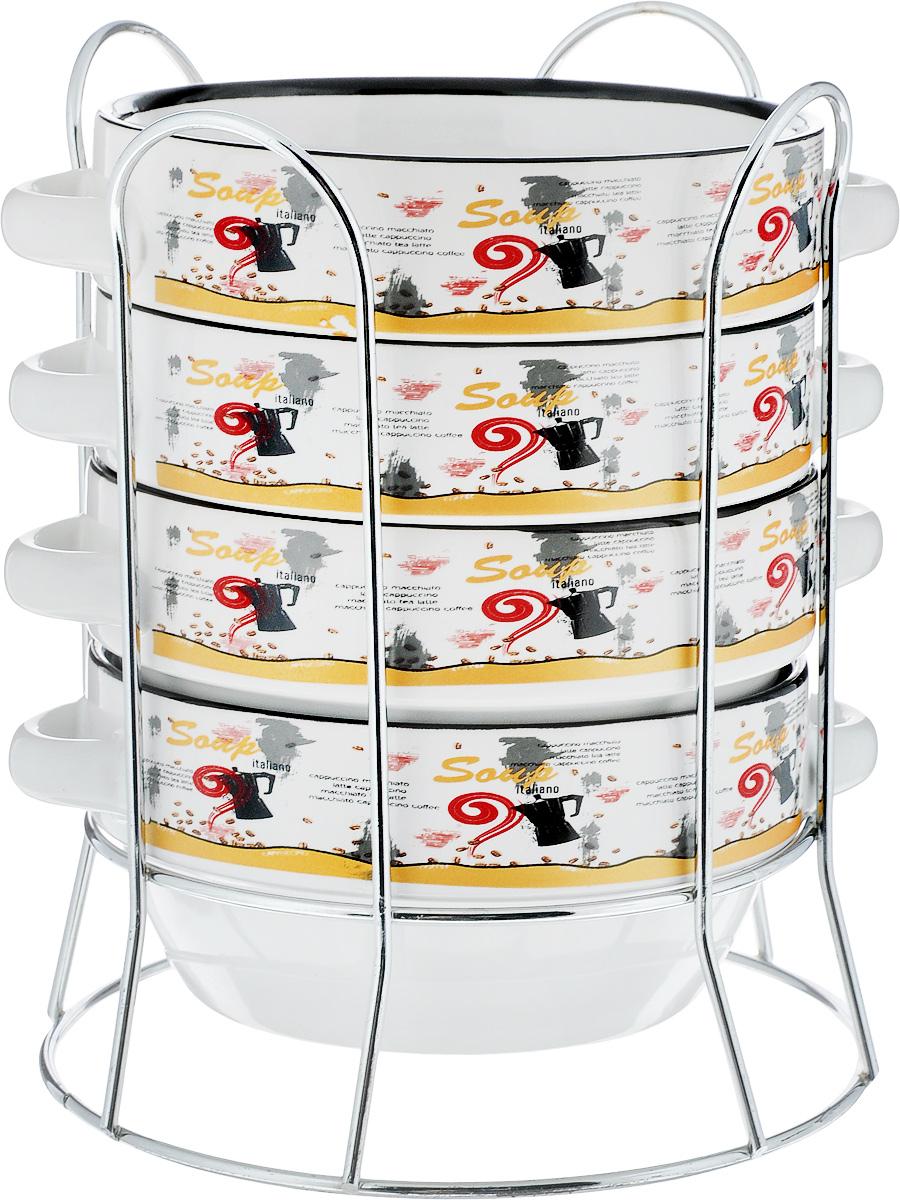 Набор супниц Loraine, на подставке, 575 мл, 5 предметов. 2128621286Набор Loraine включает в себя четыре супницы, выполненные из высококачественной керамики. Набор прекрасно подходит для подачи супов, бульонов и других блюд. Элегантный дизайн с разнообразными надписями отлично впишется в интерьер любой кухни. Супницы компактно размещаются на подставке из хромированного металла с резными вставками по бокам. Посуду можно использовать в микроволновой печи и холодильнике, а также мыть в посудомоечной машине. Объем супниц: 575 мл. Диаметр супниц (по верхнему краю): 14 см. Диаметр дна супниц: 10 см. Высота супниц: 7 см. Размер подставки: 16,5 х 16,5 х 20,5 см.