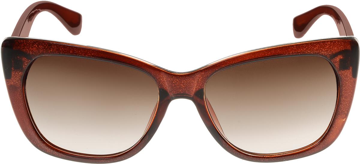 Очки солнцезащитные женские Vittorio Richi, цвет: коричневый. ОС5092с82-46-12/17fОС5092с82-46-12/17fЭлегантные солнцезащитные очки Vittorio Richi выполнены из высококачественного пластика. Пластик используемый при изготовлении линз не искажает изображение, не подвержен нагреванию и вредному воздействию солнечных лучей. Оправа очков легкая, прилегающей формы и поэтому обеспечивает максимальный комфорт. Такие очки защитят глаза от ультрафиолетовых лучей, подчеркнут вашу индивидуальность и сделают ваш образ завершенным.