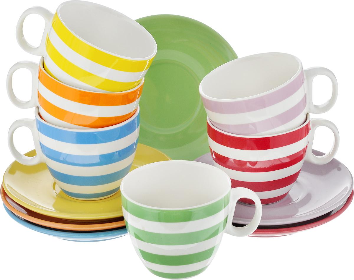 Набор чайный Loraine, 12 предметов. 2424124241Набор Loraine, состоящий из 6 чашек и 6 блюдец, изготовлен из высококачественной керамики с глазурованным покрытием. Чашки оформлены принтом в полоску, блюдца - однотонные. Изящный дизайн придется по вкусу и ценителям классики, и тем, кто предпочитает утонченность и изысканность. Он настроит на позитивный лад и подарит хорошее настроение с самого утра. Можно использовать в микроволновой печи и мыть в посудомоечной машине. Диаметр чашки (по верхнему краю): 7,5 см. Высота чашки: 7 см. Объем чашки: 220 мл. Диаметр блюдца: 14 см. Высота блюдца: 2 см.