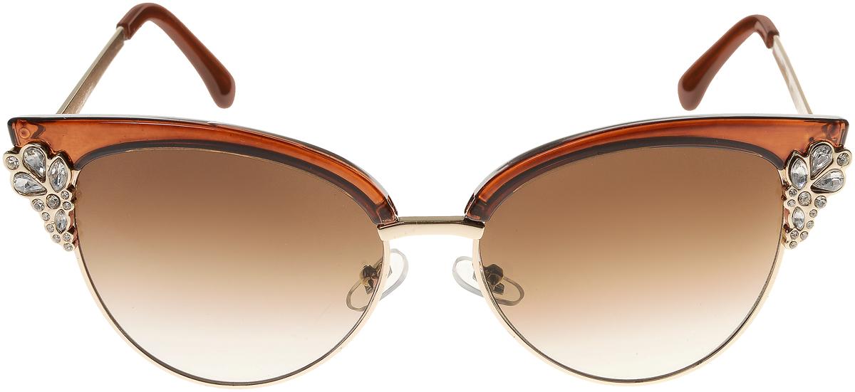 Очки солнцезащитные женские Vittorio Richi, цвет: коричневый. OC1899c3/17fOC1899c3/17fЭлегантные солнцезащитные очки Vittorio Richi выполнены из высококачественного пластика и металла, декорированы стразами. Пластик используемый при изготовлении линз не искажает изображение, не подвержен нагреванию и вредному воздействию солнечных лучей. Оправа очков легкая, прилегающей формы и поэтому обеспечивает максимальный комфорт. Такие очки защитят глаза от ультрафиолетовых лучей, подчеркнут вашу индивидуальность и сделают ваш образ завершенным.