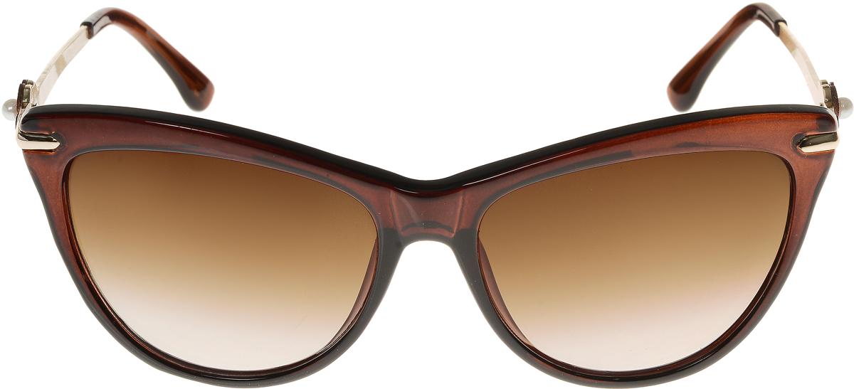 Очки солнцезащитные женские Vittorio Richi, цвет: коричневый. ОС1636с2/17fОС1636с2/17fЭлегантные солнцезащитные очки Vittorio Richi выполнены из высококачественного пластика и металла. Пластик используемый при изготовлении линз не искажает изображение, не подвержен нагреванию и вредному воздействию солнечных лучей. Оправа очков легкая, прилегающей формы и поэтому обеспечивает максимальный комфорт. Такие очки защитят глаза от ультрафиолетовых лучей, подчеркнут вашу индивидуальность и сделают ваш образ завершенным.
