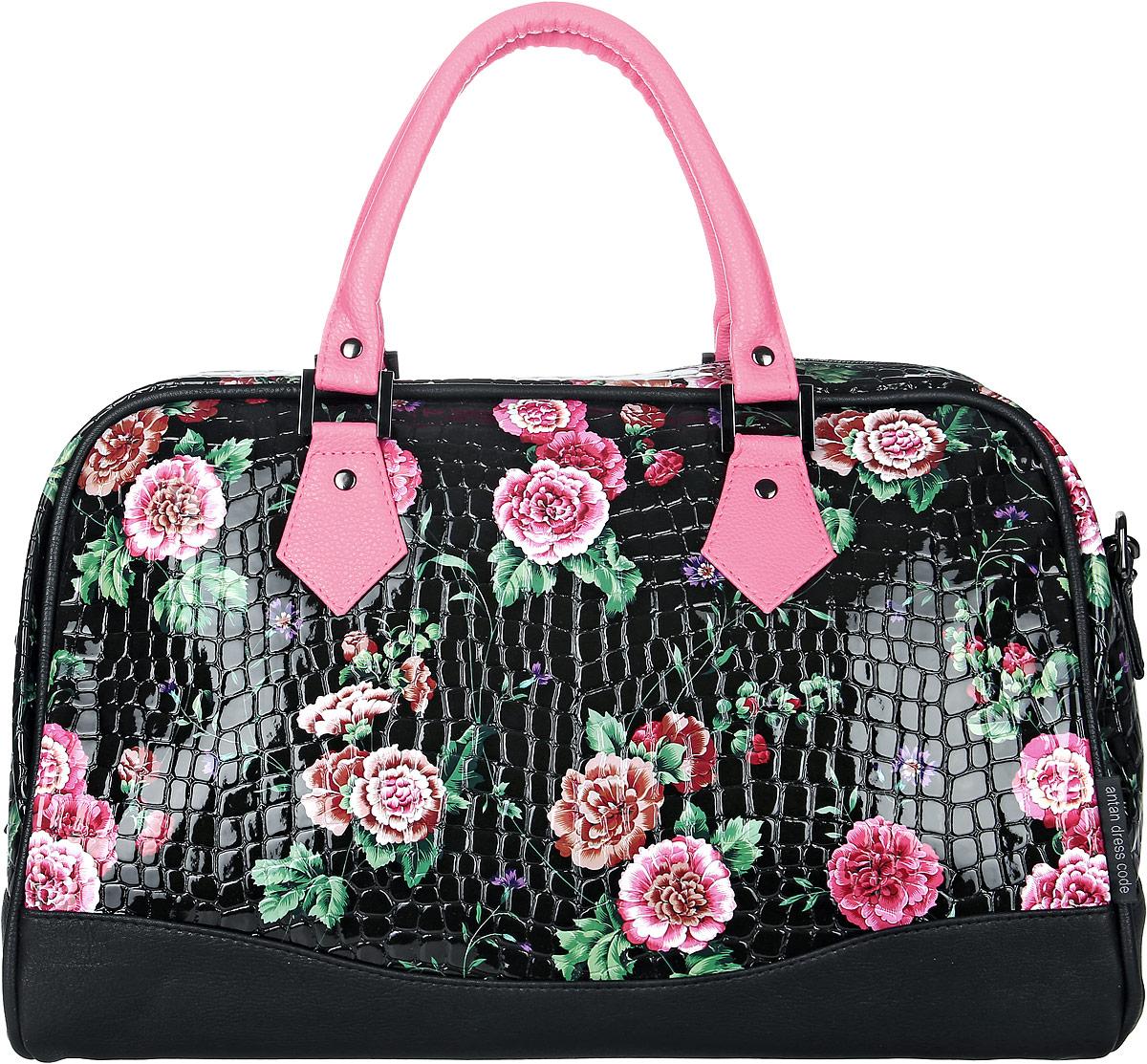Сумка женская Аntan, цвет: черный, розовый. 46700188615334670018861533Стильная женская сумка Аntan выполнена из искусственной кожи. Изделие имеет одно отделение, закрывающееся на застежку-молнию. Внутри сумки находится прорезной карман на застежке-молнии. Модель оснащена двумя удобными ручками и съемным плечевым ремнем.