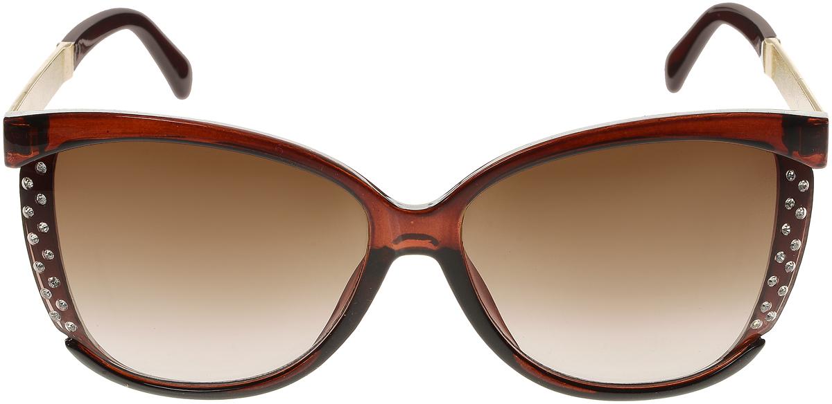 Очки солнцезащитные женские Vittorio Richi, цвет: коричневый. OC2065с81-11/17fOC2065с81-11/17fЭлегантные солнцезащитные очки Vittorio Richi выполнены из высококачественного пластика и металла, декорированы стразами. Пластик используемый при изготовлении линз не искажает изображение, не подвержен нагреванию и вредному воздействию солнечных лучей. Оправа очков легкая, прилегающей формы и поэтому обеспечивает максимальный комфорт. Такие очки защитят глаза от ультрафиолетовых лучей, подчеркнут вашу индивидуальность и сделают ваш образ завершенным.