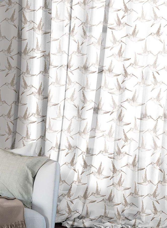 Комплект штор Волшебная ночь Hummingbird, на ленте, высота 270 см, 2 шт704Шторы коллекции Волшебная ночь - это готовое решение для Вашего интерьера, гарантирующее красоту, удобство и индивидуальный стиль! Шторы изготовлены из тонкой и легкой ткани ВУАЛЬ, которая почти не препятствует прохождению света, но защищает комнату от посторонних взглядов. Длина штор регулируется с помощью клеевой паутинки (в комплекте). Изделия крепятся на вшитую шторную ленту: на крючки или путем продевания на карниз. Дизайнеры Марки предлагают уже сформированные комплекты штор из различных тканей и рисунков для создания идеальной композиции на окне. Для удобства выбора дизайны штор распределены в стилевые коллекции: ЭТНО, ВЕРСАЛЬ, ЛОФТ, ПРОВАНС. В коллекции Волшебная ночь к данной шторе Вы также сможете подобрать шторы из других тканей: БЛЭКАУТ (100% затемненение), сатен и ГАБАРДИН (частичное затемнение), которые будут прекрасно сочетаться по дизайну и обеспечат особый уют Вашему дому.