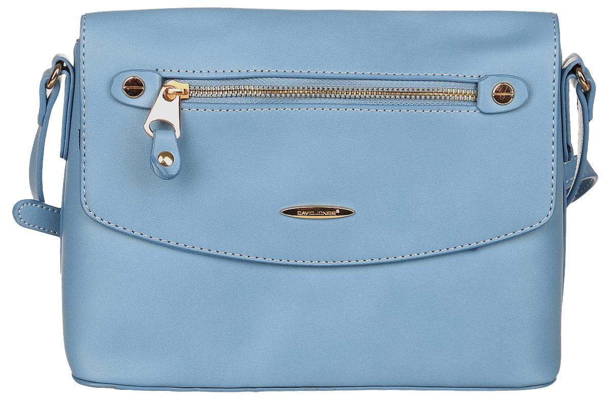 Сумка женская David Jones, цвет: голубой. 5527-15527-1 BLUEСтильная женская сумка David Jones выполнена из экокожи и с лицевой стороны оформлена металлической пластиной с названием бренда. Сумка имеет одно основное отделение, закрывающееся на застежку-молнию и клапан с магнитной кнопкой. Внутри расположены один прорезной карман на застежке- молнии и один накладной открытый карман. Снаружи, на клапане размещен прорезной карман на застежке-молнии, на задней стенке так же прорезной карман на молнии. Сумка оснащена удобным плечевым ремнем. Дно сумки дополнено металлическими ножками.