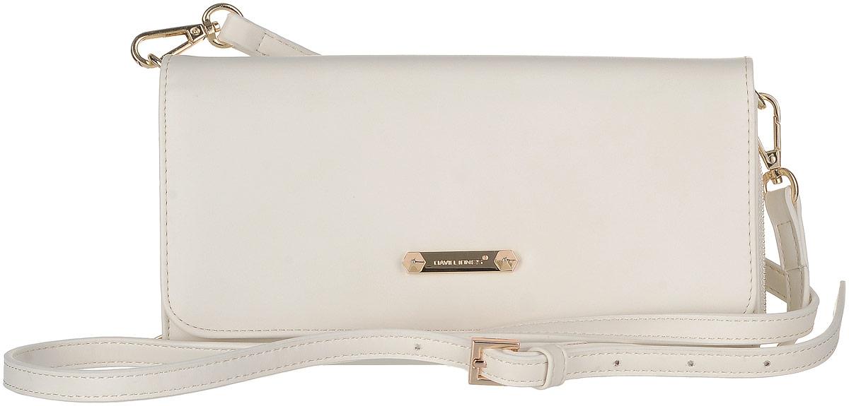 Сумка женская David Jones, цвет: белый. 5504-15504-1 WHITEСтильная женская сумка David Jones выполнена из экокожи. Сумка имеет три отделения, закрывающееся на застежку-молнию, клапан и магнитную кнопку. Внутри модель имеет карман на молнии, четыре кармана для пластиковых карт и один скрытый карман. Изделие оснащено съемным плечевым ремнем.