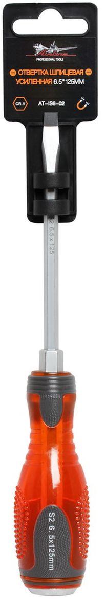 Отвертка шлицевая Airline, усиленная под ключ, 6,5 х 125 ммAT-IS6-02Отвертка шлицевая Airline предназначена для монтажа/демонтажа резьбовых соединений с применением значительных усилий. Лезвие отвертки изготовлено из хром-ванадиевой стали, жало подвержено индукционной закалке и фосфатировано. Лезвие усиленных отверток изготовлено из особо прочной стали S2. Под рукояткой имеется усиление под ключ, а сверху пятак для передачи ударных нагрузок. Сочетание твердых и мягких элементов рукоятки оптимально распределяет усилие, прилагаемое к инструменту, и предотвращает проскальзывание. Размер отвертки: 6,5 х 125 мм.