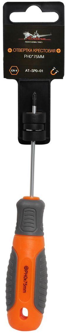 Отвертка крестовая Airline, с эргономичной рукояткой, PH0 х 75 ммAT-SP0-01Отвертка крестовая Airline предназначена для монтажа/демонтажа резьбовых соединений с применением значительных усилий. Лезвие отвертки изготовлено из хром-ванадиевой стали, жало подвержено индукционной закалке и фосфатировано. Лезвие усиленных отверток шестигранной формы, изготовлено из особо прочной стали S2. Сочетание твердых и мягких элементов рукоятки оптимально распределяет усилие, прилагаемое к инструменту, и предотвращает проскальзывание. Отвертка удобно подвешивается за специальное отверстие. Размер отвертки: PH0 х 75 мм.
