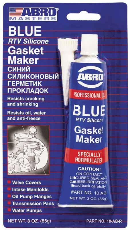 Герметик прокладок Abro Masters, цвет: синий, 85 г10-AB-CHМногоцелевые герметики прокладок Blue, Red, Clear, Black предназначены для ремонта или замены почти всех встречающихся в автомобиле прокладок. Герметик ABRO принимает любую форму и успешно выдерживает сжатие, растяжение и сдвиг; совершенно не разрушается под действием автомобильных масел, воды и антифриза. Также герметик ABRO обладает высокой стойкостью к бензину и тормозной жидкости. Более мягкий герметик прокладок Blue (синий), также как Clear и Black (прозрачный, черный), предназначен для применения при температурах до 260°С, в то время как герметик прокладок Red (красного цвета) разработан для более высоких температур до 343°С.