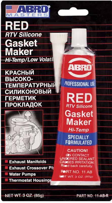 Герметик прокладок Abro, цвет: красный, 85 г11-ABМногоцелевые герметики прокладок Blue(синий), Red(красный), Clear(прозрачный), Black (черный) Сфера применения: Предназначены для ремонта или замены почти всех встречающихся в автомобиле прокладок. Свойства: —Герметик ABRO принимает любую форму и успешно выдерживает сжатие, растяжение и сдвиг; —Совершенно не разрушается под действием автомобильных масел, воды и антифриза. —Обладает высокой стойкостью к бензину и тормозной жидкости. —Более мягкий герметик прокладок Blue (синий), также как Clear и Black (прозрачный, черный), предназначен для применения при температурах до 260°С, в то время как герметик прокладок Red (красного цвета) разработан для более высоких температур до 343°С.