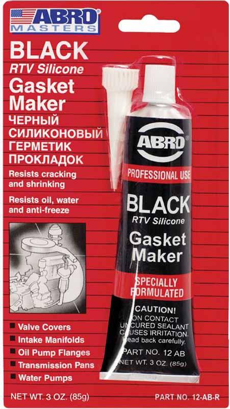 Герметик прокладок Abro Masters, цвет: черный, 85 г12-AB-CHМногоцелевые герметики прокладок Blue, Red, Clear, Black предназначены для ремонта или замены почти всех встречающихся в автомобиле прокладок. Герметик ABRO принимает любую форму и успешно выдерживает сжатие, растяжение и сдвиг; совершенно не разрушается под действием автомобильных масел, воды и антифриза. Также герметик ABRO обладает высокой стойкостью к бензину и тормозной жидкости. Более мягкий герметик прокладок Blue (синий), также как Clear и Black (прозрачный, черный), предназначен для применения при температурах до 260°С, в то время как герметик прокладок Red (красного цвета) разработан для более высоких температур до 343°С.