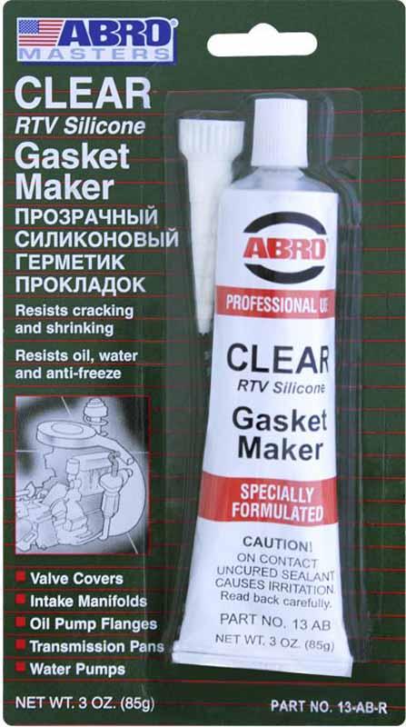 Герметик прокладок Abro Masters, цвет: прозрачный, 85 г13-AB-CHМногоцелевые герметики прокладок Blue, Red, Clear, Black предназначены для ремонта или замены почти всех встречающихся в автомобиле прокладок. Герметик ABRO принимает любую форму и успешно выдерживает сжатие, растяжение и сдвиг; совершенно не разрушается под действием автомобильных масел, воды и антифриза. Также герметик ABRO обладает высокой стойкостью к бензину и тормозной жидкости. Более мягкий герметик прокладок Blue (синий), также как Clear и Black (прозрачный, черный), предназначен для применения при температурах до 260°С, в то время как герметик прокладок Red (красного цвета) разработан для более высоких температур до 343°С.