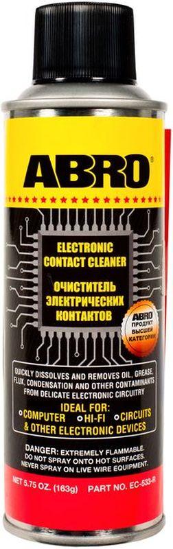 Очиститель электрических контактов Abro, 163 гEC-533Удаляет масло, жир, грязь, окислы и влагу с электрических контактов, переключателей, розеток, электроплат, измерительных приборов и т. д. Не оставляет сухого остатка, безопасен для большинства пластмасс. Предотвращает ухудшение электросигнала и закисание электроконтактов. Идеально подходит для электрических блоков и контактов в автомобиле и дома, компьютеров, аудио- и видеотехники, а также любых других электрических приборов и устройств.
