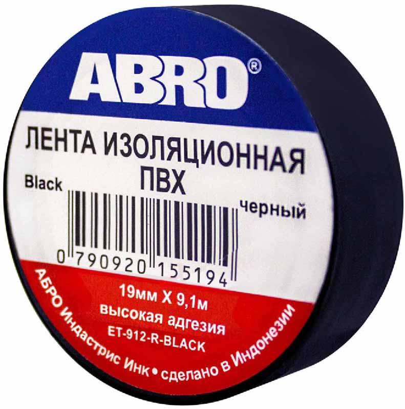 Изолента Abro, цвет: черный, 19 мм х 9,1 мET-912-BLKПредназначение: — Изоляция проводов низкого напряжения. — Намотка пучков проводки — Маркирование Преимущества: —Эластичная —Устойчива к растяжению —Имеет высокую адгезию
