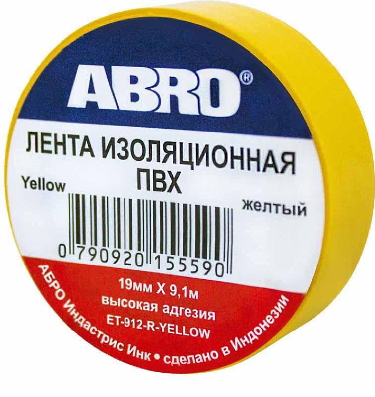 Изолента Abro, цвет: желтый, 19 мм х 9,1 мET-912-YEПредназначение: — Изоляция проводов низкого напряжения. — Намотка пучков проводки — Маркирование Преимущества: —Эластичная —Устойчива к растяжению —Имеет высокую адгезию