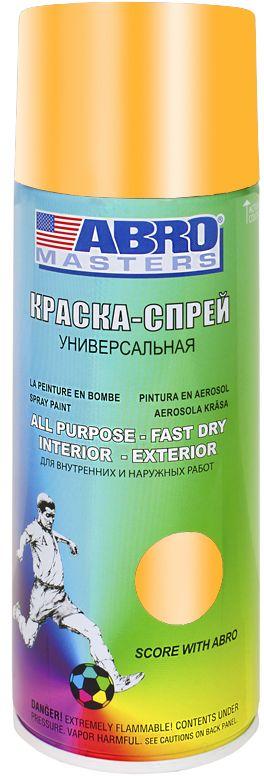 Краска-спрей Abro Masters, цвет: золотистыйSP-030-AMПрименяется для окраски металлических и деревянных поверхностей различных предметов. Используется как для внутренних (домашних), так и наружных работ. После высыхания не токсична.