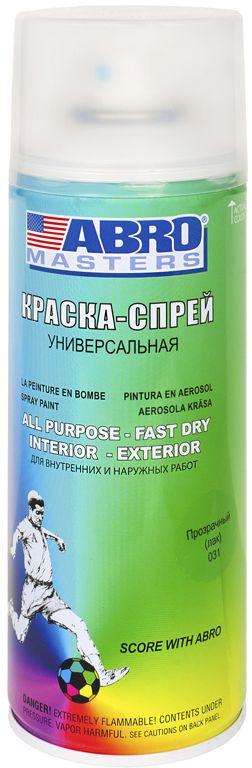 Краска-спрей Abro Masters, цвет: прозрачныйSP-031-AMПрименяется для окраски металлических и деревянных поверхностей различных предметов. Используется как для внутренних (домашних), так и наружных работ. После высыхания не токсична.