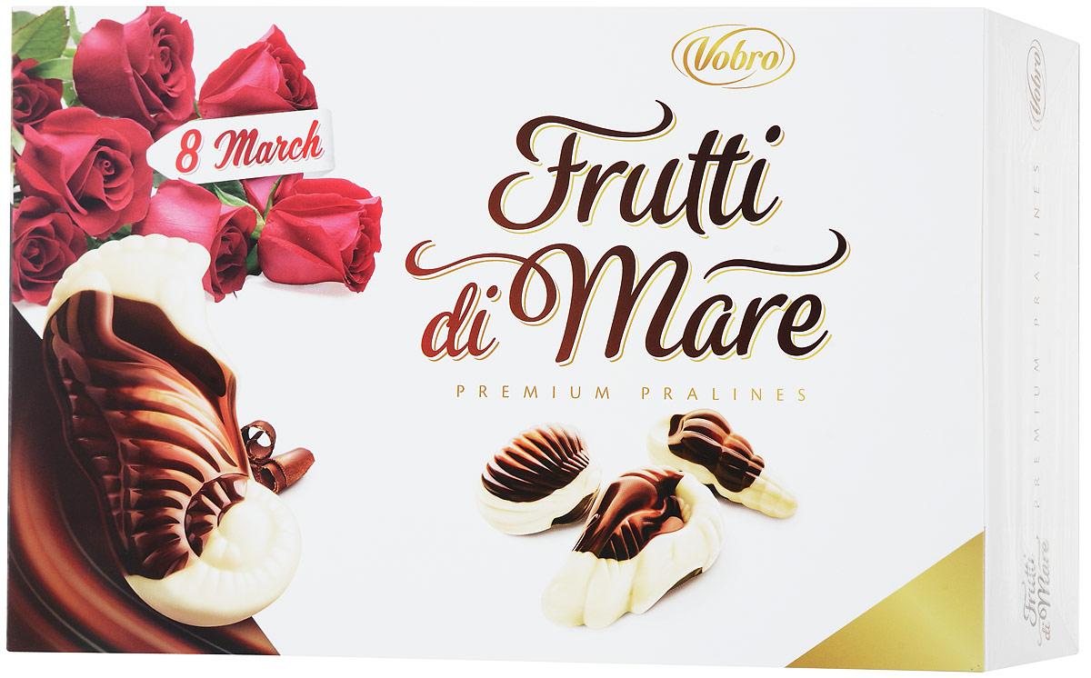 Vobro Frutti di Mare набор шоколадных конфет в виде морских ракушек, 350 г13863Frutti di Mare - это конфеты, в виде морских обитателей, из темного и белого шоколада, начиненные четырьмя начинками со вкусами: какао, ореховым, молочным и карамельным. Эти шоколадные ракушки с разным вкусом надолго оставляют приятные вкусовые впечатления, а их дополнительным достоинством является их неповторимая форма. Вместе образуют прекрасный сладкий подарок.