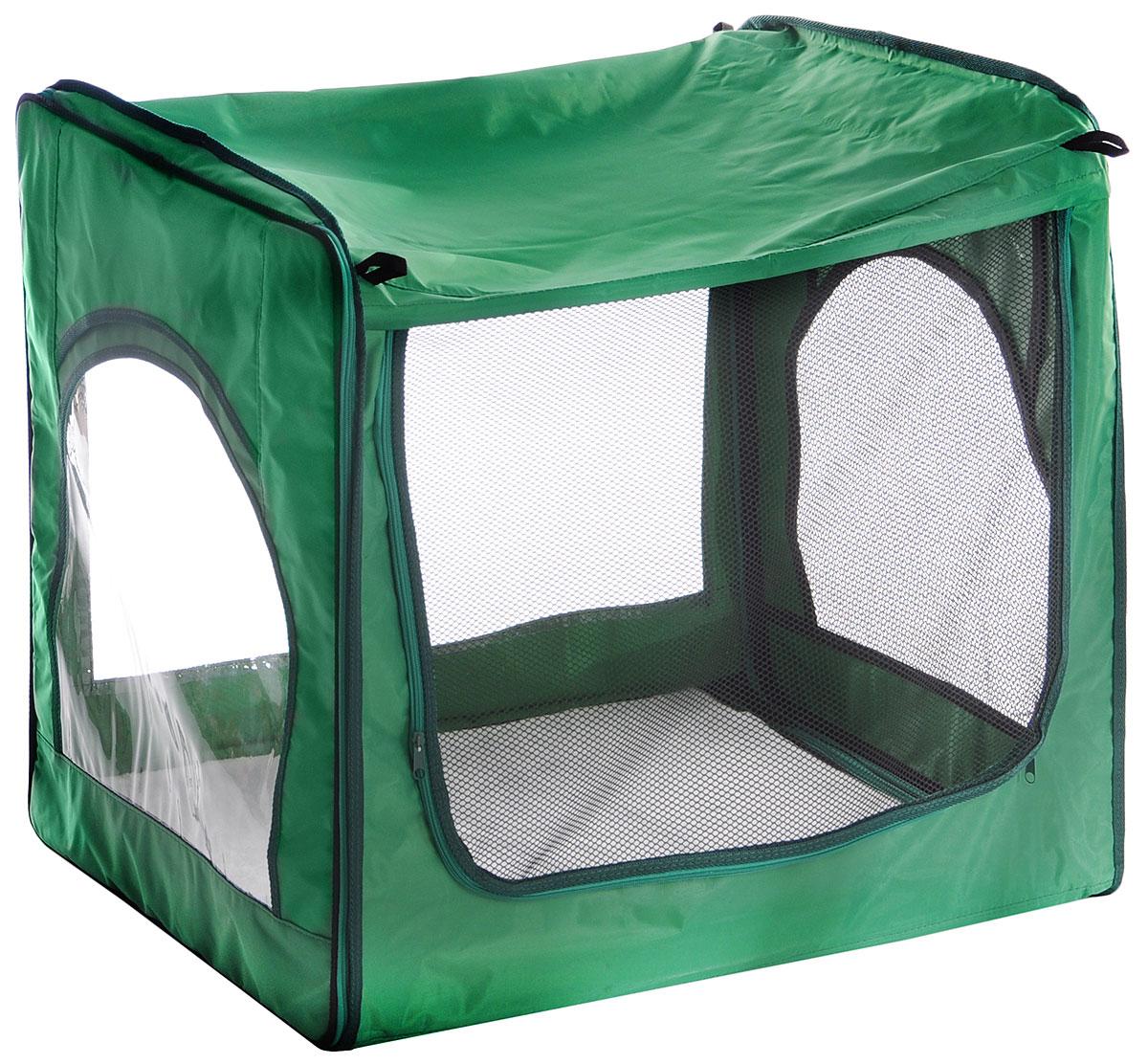 Клетка для животных Заря-Плюс, выставочная, цвет: зеленый, черный, прозрачный, 75 х 60 х 50 смКТВ2/1зПалатка Заря-Плюс отлично подойдет для участия на любых российских или международных выставках кошек и собак, для домашнего содержания, а также для ограничения территории перемещения животного, для родов и содержания котят и щенков. Эта модель палатки продумана и выполнена таким образом, чтобы воздух мог циркулировать максимально свободно, так как две стороны палатки выполнены из сетки (обратная сторона палатки, а также одна боковая). Лицевая и вторая боковая стороны палатки выполнены из прозрачной пленки, благодаря чему в палатку проникает много света, и у вас будет возможность представить своих питомцев на выставке в максимально выгодном свете. В комплект входит сумка-переноска с двумя ручками и длинным заплечным ремнем. Палатка легко собирается и разбирается. Достаточно застегнуть боковые стенки с помощью молнии. В комплект палатки входит съемное дно из ДВП, а также меховой матрац. При необходимости матрац легко снимается для стирки. ...