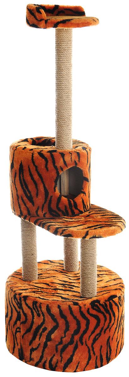 """Домик-когтеточка """"Меридиан"""", круглый, с площадкой и полкой, цвет: оранжевый, черный, бежевый, 55 х 50 х 147 см Д551Т"""