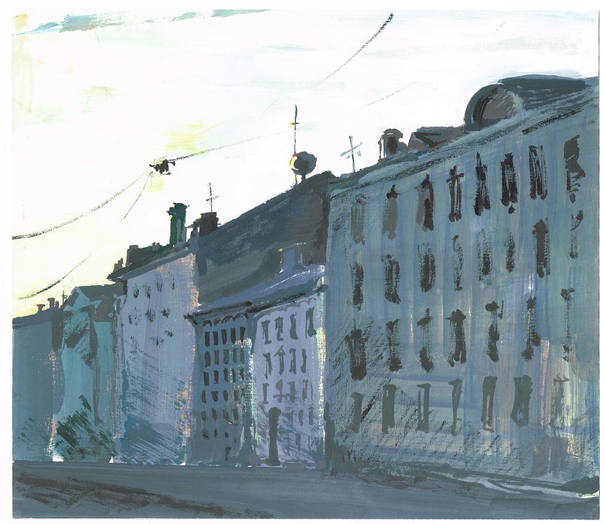 Петербург. После дождя. Миллионная улица. Рисунок. Гуашь, карандаш. Россия, 2000-гг