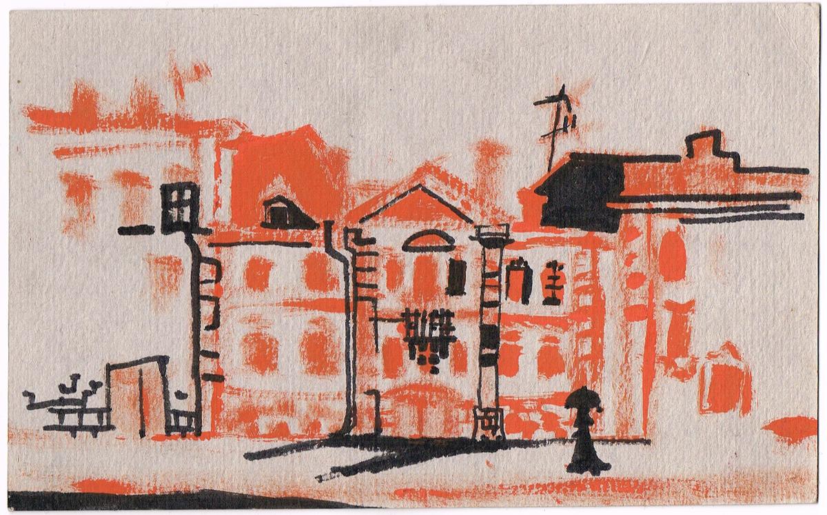 Миллионная улица в Петербурге. Рисунок. Смешанная техника, тушь, гуашь. Россия, 2000-е гг