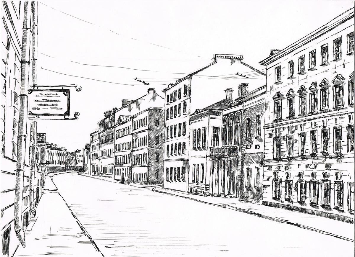 Петербург. Рисунок. Тушь, карандаш. Россия, 2000-е гг