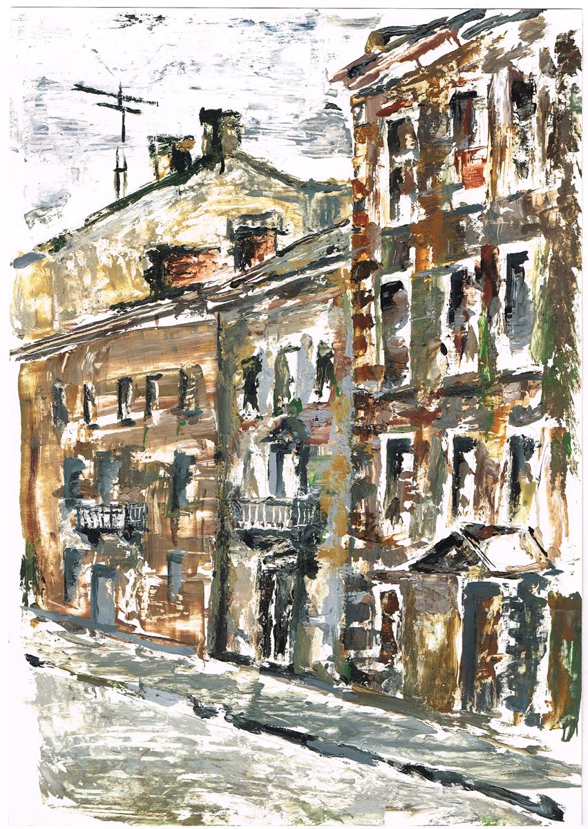 Дома на Миллионной улице. Гуашь, рисунок. Россия, 2000-е гг