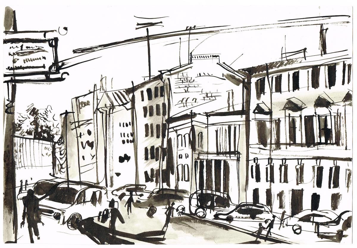 Вид на Миллионную улицу. Рисунок. Тушь. Россия, 2000-е гг