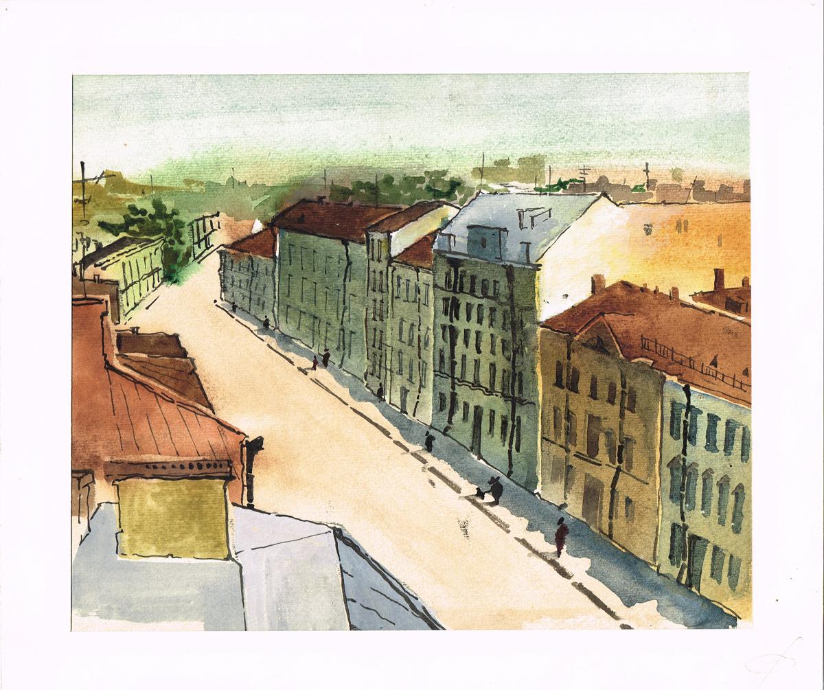 Санкт-Петербург, Миллионная улица. Рисунок, акварель. Россия, 2000-е гг