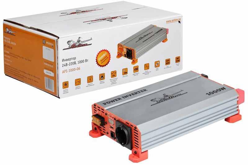 Инвертор Airline, 24В-220В, 1000 Вт. API-1000-06API-1000-06Инвертор позволит решить проблему недостатка электроэнергии в салоне автомобиля. Необходимая мощность напряжения преобразования энергии для данного изделия является 24В, а длительная мощность составит 1000Вт. Инвертор оснащен надежным комплексом защиты при возникновении непредвиденных чрезвычайных ситуаций. Эта модель работающая от 24 вольт. Может быть использована на коммерческом и грузовом транспорте с бортовой сетью 24В. Самая мощная модель в линейке инверторов AIRLINE – 1КВт! Преимущества: - Алюминиевый корпус - Автоматическое восстановление после срабатывания защиты - Мягкий старт - Наличие всех необходимых защит - Встроенный предохранитель - Яркий дизайн изделия и упаковки Входное напряжение - 24В - /50А Выходное напряжение - 220В ~ 50Гц / 4.5А Мощность (длительная) - 1000 Вт Мощность в пике - 2000 Вт Форма выходного сигнала - модифицированная синусоида Предохранитель - Встроенный Потребление тока без нагрузки - ...