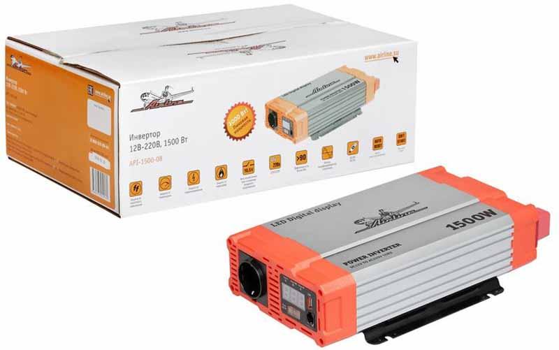 Инвертор Airline, 12В-220В, 1500 Вт. API-1500-08API-1500-08Автомобильные преобразователи напряжения (инверторы) позволяют получить: -переменное напряжение 220В – 50Гц от аккумулятора автомобиля. Инверторы предназначены для питания устройств с номинальным напряжением 220 вольт. В инверторы встроено гнездо USB 5В для питания и зарядки мобильных устройств. Устройства имеют защиты от короткого замыкания, перегрева, бросков входного напряжения. После устранения причины включения защиты инвертор автоматически восстанавливает свою работу. Если в автомобиле необходима настоящая розетка 220В, то инвертор станет незаменимым дополнением. Подключаясь к аккумулятору, он инвертирует автомобильные 12В в 220В, обеспечивая автовладельца возможностью подключения необходимых в дороге или на выезде, вдалеке от дома, приборов, например, ноутбука и телевизора, электроинструментов и зарядки. Это делает автомобиль более комфортным, особенно в случае внепланового отключения электроэнергии дома, на даче или на отдыхе за городом. Входное напряжение - 12В - /140А...