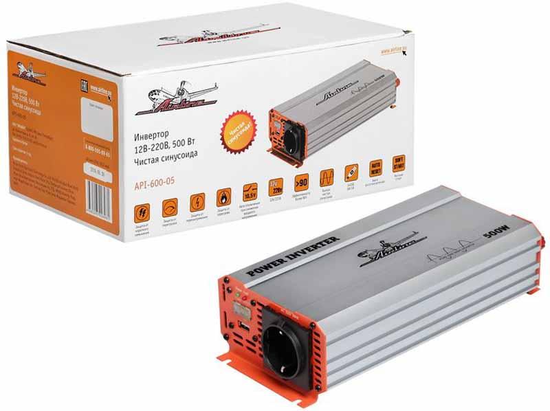 Инвертор Airline, чистый синус, 12В-220В, 500 Вт. API-600-05API-600-05Инвертор оснащен входным напряжением постоянного тока мощностью 12В, а также длительной мощностью в 500Вт. Основным преимуществом изделия является наличие чистой синусоиды выходного сигнала и системы автоматической загрузки после включения функции защиты. Данные характеристики позволяют использовать инвертор для работы с максимально чувствительными электрическими приборами. Преимущества: - Алюминиевый корпус - Встроенное гнездо USB - Чистый синус на выходе - Автоматическое восстановление после срабатывания защиты - Мягкий старт - Наличие всех необходимых защит - Встроенный предохранитель - Яркий дизайн изделия и упаковки Входное напряжение - 12В - /46А Выходное напряжение - 220В ~ 50Гц / 2.3А Мощность (длительная) - 500 Вт Мощность в пике - 1000 Вт Форма выходного сигнала - чистая синусоида Предохранитель - 2x40 A Потребление тока без нагрузки - ...