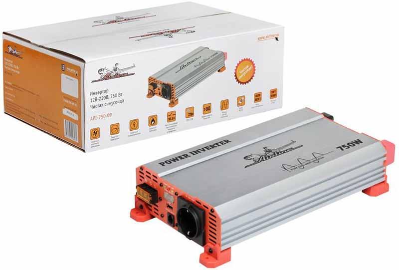 Инвертор Airline, чистый синус, 12В-220В, 750 Вт. API-750-09API-750-09Автомобильные преобразователи напряжения (инверторы) позволяют получить: -переменное напряжение 220В – 50Гц от аккумулятора автомобиля. Инверторы предназначены для питания устройств с номинальным напряжением 220 вольт. В инверторы встроено гнездо USB 5В для питания и зарядки мобильных устройств. Устройства имеют защиты от короткого замыкания, перегрева, бросков входного напряжения. После устранения причины включения защиты инвертор автоматически восстанавливает свою работу. Если в автомобиле необходима настоящая розетка 220В, то инвертор станет незаменимым дополнением. Подключаясь к аккумулятору, он инвертирует автомобильные 12В в 220В, обеспечивая автовладельца возможностью подключения необходимых в дороге или на выезде, вдалеке от дома, приборов, например, ноутбука и телевизора, электроинструментов и зарядки. Это делает автомобиль более комфортным, особенно в случае внепланового отключения электроэнергии дома, на даче или на отдыхе за городом. Входное напряжение - 12В - /63А...