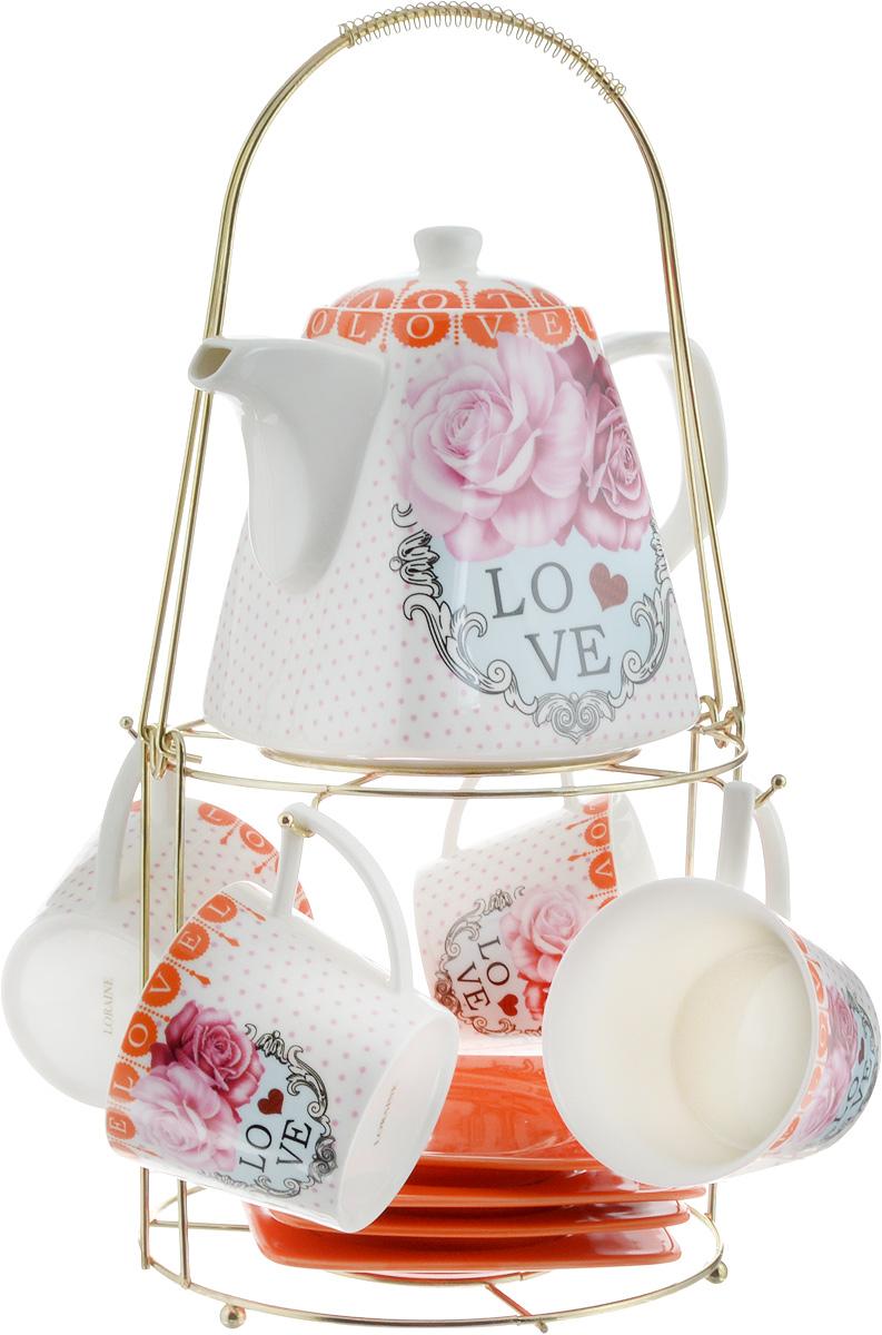 Набор чайный Loraine, на подставке, 10 предметов. 2473024730Чайный набор Loraine состоит из 4 чашек, 4 блюдец, заварочного чайника и подставки. Посуда изготовлена из качественной глазурованной керамики и оформлена изображением цветов. Блюдца и чашки имеют необычную фигурную форму. Все предметы располагаются на удобной металлической подставке с ручкой. Элегантный дизайн набора придется по вкусу и ценителям классики, и тем, кто предпочитает современный стиль. Он настроит на позитивный лад и подарит хорошее настроение с самого утра. Чайный набор Loraine идеально подойдет для сервировки стола и станет отличным подарком к любому празднику. Можно использовать в СВЧ и мыть в посудомоечной машине. Объем чашки: 250 мл. Размеры чашки (по верхнему краю): 8,5 х 8,2 см. Высота чашки: 7,5 см. Диаметр блюдца: 14 см. Высота блюдца: 1,5 см. Объем чайника: 1,1 л. Размер чайника (без учета ручки и носика): 13 х 13 х 13 см. Размер подставки: 18 х 18 х 37 см.