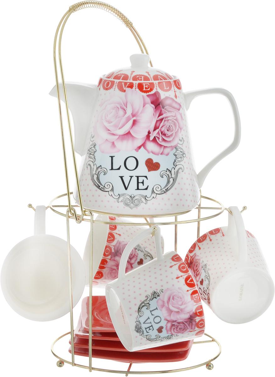Набор чайный Loraine, на подставке, 10 предметов. 2472824728Чайный набор Loraine состоит из 4 чашек, 4 блюдец, заварочного чайника и подставки. Посуда изготовлена из качественной глазурованной керамики и оформлена изображением цветов. Блюдца и чашки имеют необычную фигурную форму. Все предметы располагаются на удобной металлической подставке с ручкой. Элегантный дизайн набора придется по вкусу и ценителям классики, и тем, кто предпочитает современный стиль. Он настроит на позитивный лад и подарит хорошее настроение с самого утра. Чайный набор Loraine идеально подойдет для сервировки стола и станет отличным подарком к любому празднику. Можно использовать в СВЧ и мыть в посудомоечной машине. Объем чашки: 250 мл. Размеры чашки (по верхнему краю): 8,5 х 8,2 см. Высота чашки: 7,5 см. Диаметр блюдца: 14 см. Высота блюдца: 1,5 см. Объем чайника: 1,1 л. Размер чайника (без учета ручки и носика): 13 х 13 х 13 см. Размер подставки: 18 х 18 х 37 см.
