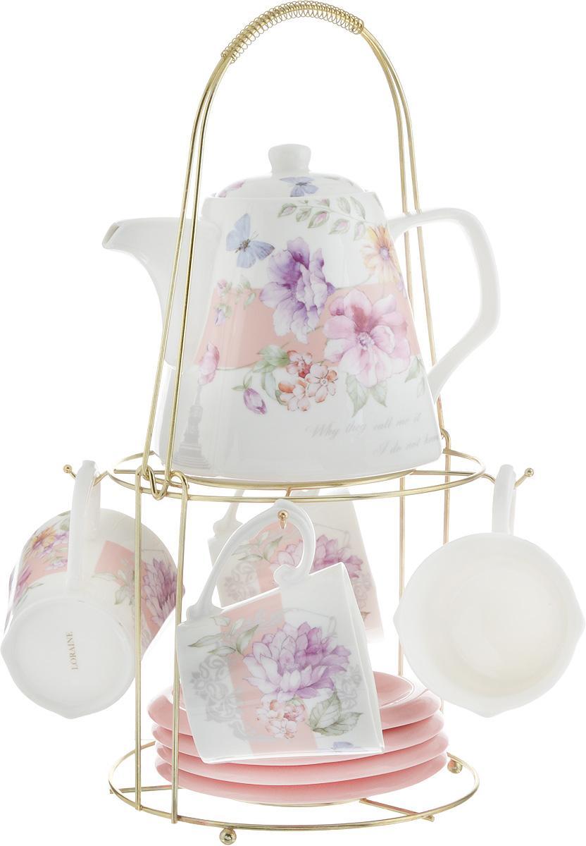 Набор чайный Loraine, на подставке, 10 предметов. 2473324733Чайный набор Loraine состоит из 4 чашек, 4 блюдец, заварочного чайника и подставки. Посуда изготовлена из качественной глазурованной керамики и оформлена изображением цветов. Блюдца и чашки имеют необычную фигурную форму. Все предметы располагаются на удобной металлической подставке с ручкой. Элегантный дизайн набора придется по вкусу и ценителям классики, и тем, кто предпочитает современный стиль. Он настроит на позитивный лад и подарит хорошее настроение с самого утра. Чайный набор Loraine идеально подойдет для сервировки стола и станет отличным подарком к любому празднику. Можно использовать в СВЧ и мыть в посудомоечной машине. Объем чашки: 250 мл. Размеры чашки (по верхнему краю): 8,5 х 8,2 см. Высота чашки: 7,5 см. Диаметр блюдца: 14 см. Высота блюдца: 1,5 см. Объем чайника: 1,1 л. Размер чайника (без учета ручки и носика): 13 х 13 х 13 см. Размер подставки: 18 х 18 х 37 см.