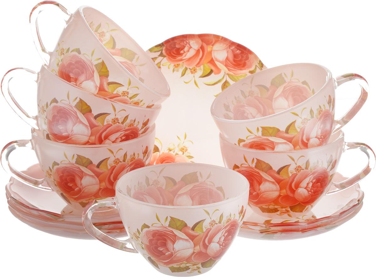 Набор чайный Loraine, 12 предметов. 2411924119Чайный набор Loraine состоит из шести чашек и шести блюдец. Предметы набора изготовлены из высококачественного стекла. Изящные цветочные изображения придают набору стильный внешний вид. Чайный набор изысканного утонченного дизайна украсит интерьер кухни. Прекрасно подойдет как для торжественных случаев, так и для ежедневного использования. Объем чашки: 200 мл. Диаметр чашки (по верхнему краю): 9 см. Высота стенки чашки: 5,8 см. Диаметр блюдца (по верхнему краю): 13,2 см. Высота блюдца: 1,7 см.