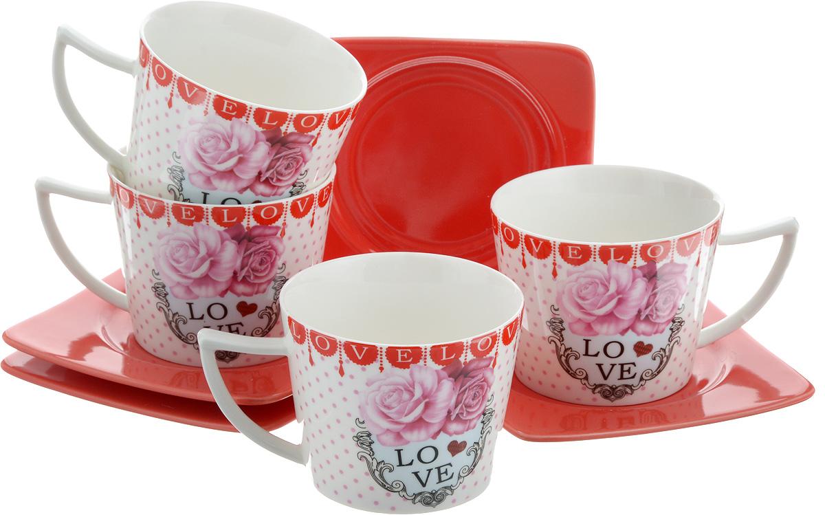 Набор чайный Loraine, 8 предметов. 2469624696Чайный набор Loraine, выполненный из керамики, состоит из 4 чашек и 4 блюдец. Чашка оформлена ярким изображением и надписью Love. Изящный дизайн и красочность оформления придутся по вкусу и ценителям классики, и тем, кто предпочитает современный стиль. Чайный набор - идеальный и необходимый подарок для вашего дома и для ваших друзей в праздники, юбилеи и торжества! Он также станет отличным корпоративным подарком и украшением любой кухни. Набор упакован в подарочную коробку из плотного цветного картона. Внутренняя часть коробки задрапирована белым атласом. Диаметр чашки: 8,5 см. Высота чашки: 6,5 см. Объем чашки: 230 мл. Размеры блюдца: 12 х 12 х 1,5 см.