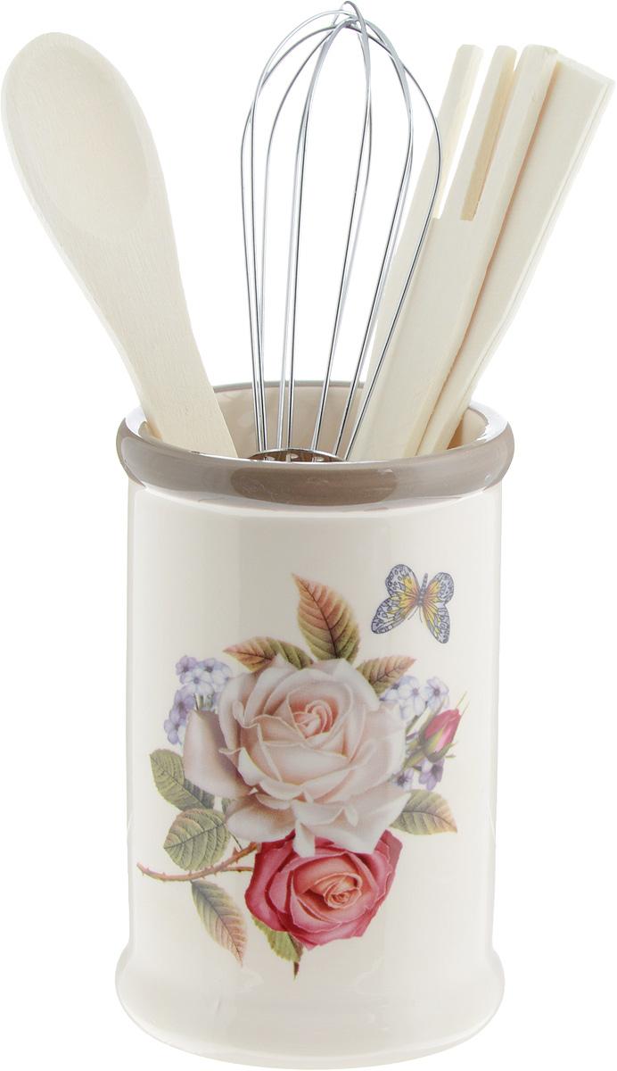 Набор кухонных принадлежностей Loraine Розы и бабочка, 5 предметов. 2169721697Набор кухонных принадлежностей Loraine Розы и бабочка состоит из ложки, лопатки, вилки, венчика и подставки. Ложка, вилка и лопатка выполнены из натурального дерева. Венчик выполнен из металла. Подставка изготовлена из доломитовой керамики, в виде вазы, украшенной красочным цветочным изображением. Эксклюзивный дизайн, эстетичность и функциональность набора Loraine позволят ему занять достойное место среди кухонного инвентаря. Длина ложки: 21 см. Размер рабочей поверхности ложки: 4,5 х 3,3 х 0,3 см. Длина вилки: 20,5 см. Размер рабочей поверхности вилки: 4 х 3 х 0,3 см. Длина лопатки: 20,5 см. Размер рабочей поверхности лопатки: 6,5 х 2,5 х 0,3 см. Длина венчика: 21 см. Диаметр подставки (по верхнему краю): 8 см. Высота подставки: 13 см.
