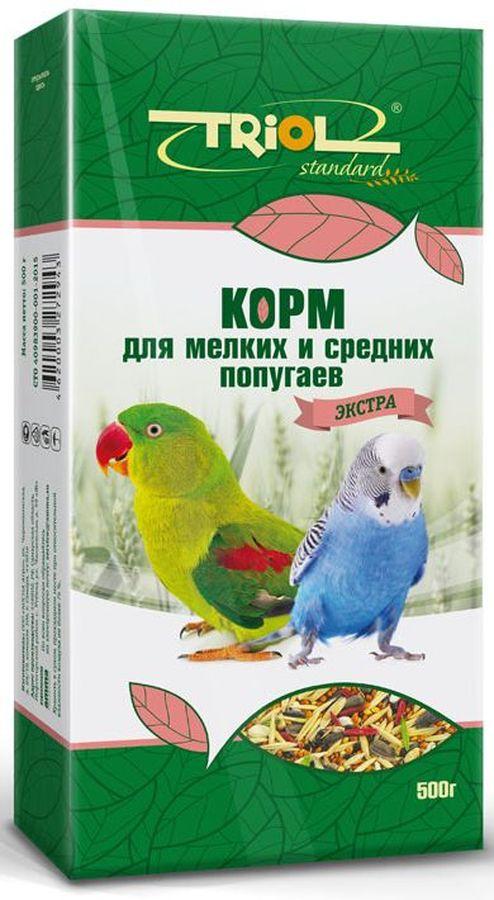 Корм Тriol Standard. Экстра для мелких и средних попугаев, 500 гКф-00200Универсальная смесь из отборных зерновых культур для ежедневного кормления мелких и средних попугаев. Корм содержит любимые пернатыми зерна и семена, сбалансирован по микро- и макроэлементам и обогащен витаминами, необходимыми для правильного развития пернатых питомцев. Основной корм для попугаев - это уникальный коктейль из зерновых и злаковых культур, а так же натуральных сущеных трав, богатых на масла семян и орехов от компании Triol. Данный продукт представляет собой полнорационный корм для средних и мелких попугаев, он содержит оптимальное количество растительных белков и клетчатки для обеспечения организма птицы жизнедеятельностью. Кроме того зерна насыщены минеральными веществами и витаминами, среди которых фосфор, минеральные соли и жиры, способствующие улучшению работы пищеварительной системы и улучшая общий обмен веществ. Так же в продукте содержаться растительные масла и экстракты трав, которые поспособствуют улучшению работы пищеварительной системы и сохранению яркого...
