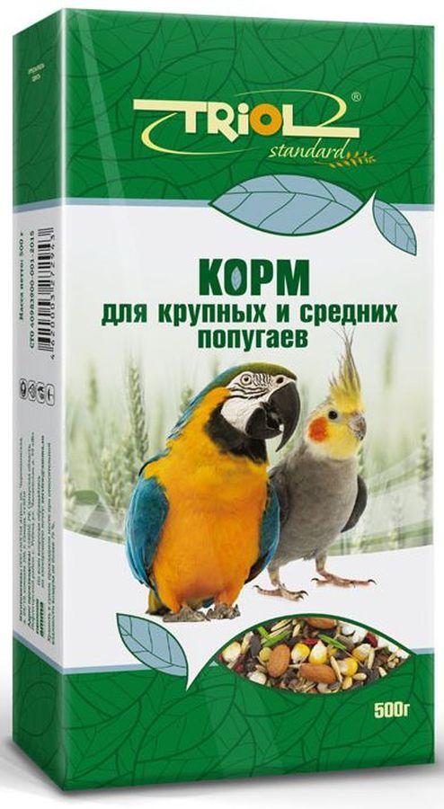 Корм Тriol Standard для крупных и средних попугаев, 500 гКф-00400Универсальная смесь из отборных зерновых культур для ежедневного кормления крупных и средних попугаев. Корм содержит любимые пернатыми зерна и семена, сбалансирован по микро- и макроэлементам и обогащен витаминами, необходимыми для правильного развития пернатых питомцев. Основной корм для попугаев - это уникальный коктейль из зерновых и злаковых культур, а так же натуральных сущеных трав, богатых на масла семян и орехов от компании Triol. Данный продукт представляет собой полнорационный корм для средних и мелких попугаев, он содержит оптимальное количество растительных белков и клетчатки для обеспечения организма птицы жизнедеятельностью. Кроме того зерна насыщены минеральными веществами и витаминами, среди которых фосфор, минеральные соли и жиры, способствующие улучшению работы пищеварительной системы и улучшая общий обмен веществ. Так же в продукте содержаться растительные масла и экстракты трав, которые поспособствуют улучшению работы пищеварительной системы и сохранению яркого...