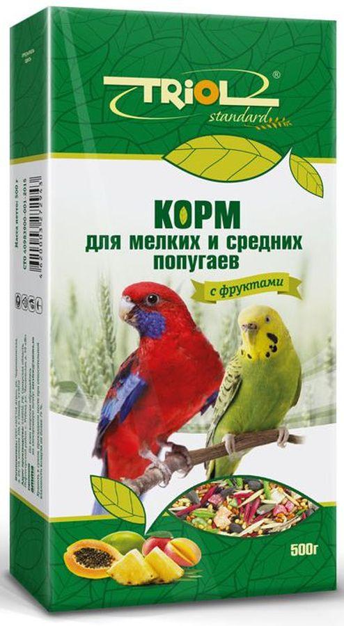 Корм Тriol Standard для мелких и средних попугаев, с фруктами, 500 гКф-00900Универсальная смесь из отборных зерновых культур для ежедневного кормления мелких и средних попугаев с фруктами. Корм содержит любимые пернатыми зерна и семена, сбалансирован по микро- и макроэлементам и обогащен витаминами, необходимыми для правильного развития пернатых питомцев. Основной корм для попугаев - это уникальный коктейль из зерновых и злаковых культур, а так же натуральных сущеных трав, богатых на масла семян и орехов от компании Triol. Данный продукт представляет собой полнорационный корм для средних и мелких попугаев, он содержит оптимальное количество растительных белков и клетчатки для обеспечения организма птицы жизнедеятельностью. Кроме того зерна насыщены минеральными веществами и витаминами, среди которых фосфор, минеральные соли и жиры, способствующие улучшению работы пищеварительной системы и улучшая общий обмен веществ. Так же в продукте содержаться растительные масла и экстракты трав, которые поспособствуют улучшению работы пищеварительной системы и сохранению...