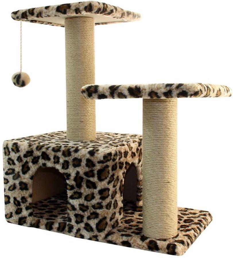 Игровой комплекс Гамма для кошек, двухуровневый, цвет: бежевый, черный, 570 х 350 х 770 ммЩг-18700блЭтот функциональный игровой комплекс для кошек станет любимым местом ваших питомцев. Комплекс состоит из двух джутовых столбиков, каждый диаметром 80мм, с двумя разноуровневыми платформами (300х300мм). Дополняет изделие уютный домик с просторным входом и мягкая игрушка на резинке. Размер основания: 570х350мм.