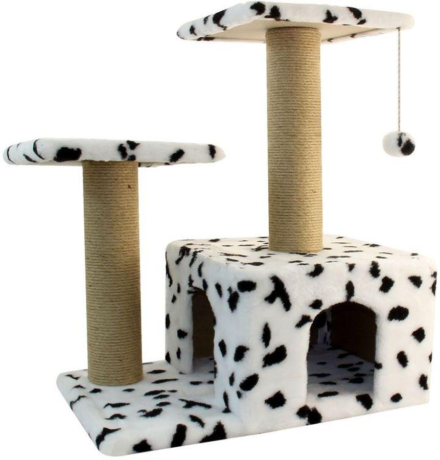 Игровой комплекс Гамма для кошек, двухуровневый, цвет: белый, черный, бежевый, 570 х 350 х 770 ммЩг-18700бспЭтот функциональный игровой комплекс для кошек станет любимым местом ваших питомцев. Комплекс состоит из двух джутовых столбиков, каждый диаметром 80мм, с двумя разноуровневыми платформами (300х300мм). Дополняет изделие уютный домик с просторным входом и мягкая игрушка на резинке. Размер основания: 570х350мм.