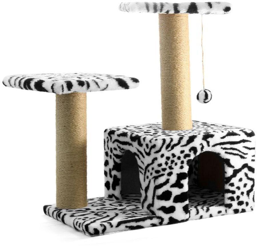 Игровой комплекс Гамма для кошек, двухуровневый, цвет: белый, черный, 570 х 350 х 770 ммЩг-18700зЭтот функциональный игровой комплекс для кошек станет любимым местом ваших питомцев. Комплекс состоит из двух джутовых столбиков, каждый диаметром 80мм, с двумя разноуровневыми платформами (300х300мм). Дополняет изделие уютный домик с просторным входом и мягкая игрушка на резинке. Размер основания: 570х350мм.