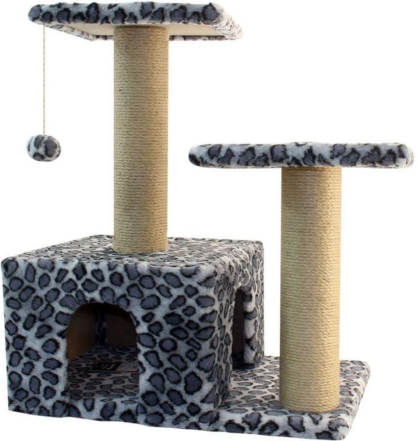 Игровой комплекс Гамма для кошек, двухуровневый, цвет: серый, черный, 570 х 350 х 770 ммЩг-18700слЭтот функциональный игровой комплекс для кошек станет любимым местом ваших питомцев. Комплекс состоит из двух джутовых столбиков, каждый диаметром 80мм, с двумя разноуровневыми платформами (300х300мм). Дополняет изделие уютный домик с просторным входом и мягкая игрушка на резинке. Размер основания: 570х350мм.