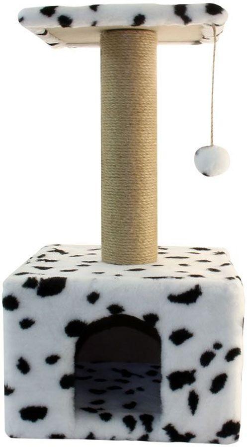 Игровой комплекс Гамма для кошек, квадратный, цвет: белый, черный, бежевый, 350 х 350 х 770 ммЩг-18800бспУниверсальный комплекс с домиком и удобной площадкой – это лучший выбор для вашей кошки. Просторный домик (350х350мм) с комфортным входом послужит отличным укрытием, а площадка наверху (300х300мм) – прекрасным местом для отдыха и наблюдения. Джутовый столбик (d80х380мм) отлично подойдет для заточки коготков, а мягкая игрушка станет дополнительным бонусом.