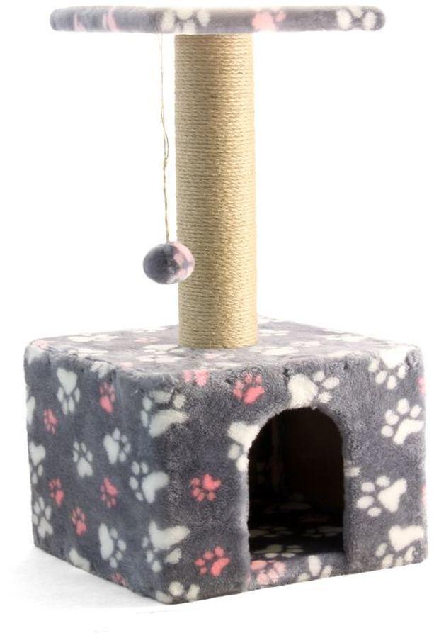 Игровой комплекс Гамма для кошек, квадратный, цвет: серый, розовый, белый, 350 х 350 х 770 ммЩг-18800слапУниверсальный комплекс с домиком и удобной площадкой – это лучший выбор для вашей кошки. Просторный домик (350х350мм) с комфортным входом послужит отличным укрытием, а площадка наверху (300х300мм) – прекрасным местом для отдыха и наблюдения. Джутовый столбик (d80х380мм) отлично подойдет для заточки коготков, а мягкая игрушка станет дополнительным бонусом.