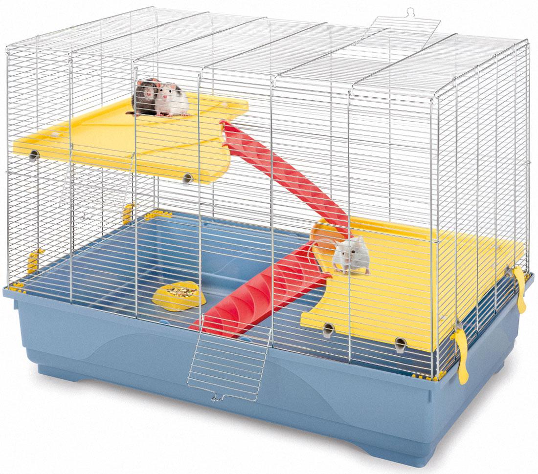 Клетка для грызунов Imac Rat 80 Mid, цвет: пепельно-синий, 80 х 48,5 х 63 см2007Клетка Imac Rat 80 Mid - создана специально для крыс. В комплекте имеется две полочки-этажа и лестиницы, с помощью которых Вы сможете спланировать внутреннее пространство по Вашему желанию. Просторная Rat 80 Mid - отличный выбор для тех, кто заводит одного или пару хвостатых питомцев. Зверькам будет комфортно и уютно в их новом доме. Цвет поддона: пепельно-синий. Размер: 80 (длина) x 48,5 (ширина) x 63 (высота) см. При установке клетки убедитесь, что Ваш питомец не будет подвержен прямому солнечному свету и сквознякам. Установите клетку в таком месте, чтобы зверёк чувствовал себя спокойно и защищённо. Кормушку расположите в легкодоступном месте, чтобы Вам было удобно добавлять корм и воду. Поилку всегда следует содержать в чистоте, воду ежедневно менять на свежую. В Ваше отсутствие клетку с питомцем следует держать закрытой, чтобы зверёк не выпал и не повредил себя, а также не стал жертвой других домашних животных. Перед первым использованием ополосните под тёплой водой все...